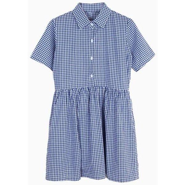 Blue Plaid Shirt Dress ($29) ❤ liked on Polyvore featuring dresses, vestidos, plaid shirt dress, plaid dress, shirt-dress, tartan dress and blue shirt dress