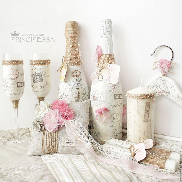 """Купить """"Любовные письма"""" свадебный набор - бледно-розовый, аксессуары, Аксессуары handmade, аксессуары для фотосессий"""