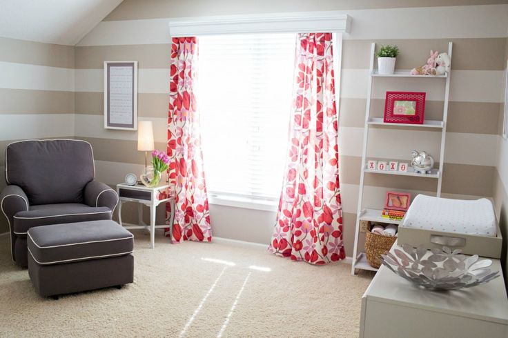 Add some fun to a neutral nursery with bright curtains!: Phoebe Poppies, Poppies Red, Color, Pink Nurseries, Poppy Red, Projects Nurseries, Phoebe Nurseries, Girls Nurseries, Bright Curtains