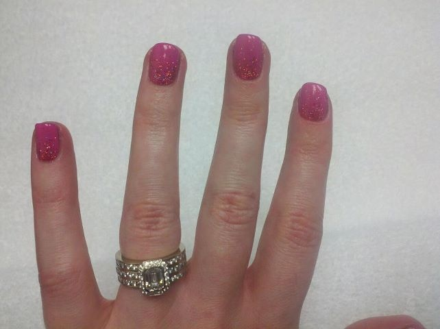 Hop Pop Pink with Reverse French Glitter ShellacFrench Glitter, Reverse French, Revere French