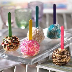 Rice Krispies Treats Fun Balls...dip them in sprinkles, coconut, nuts...the list is endless. Cute, cute, & cute:)