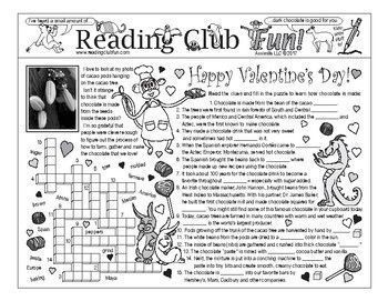 VALENTINE'S DAY - History of chocolate-making and some Valentine fun 2-page activity set. Includes a matching vocabulary word search puzzle for reinforcement. Very cute!