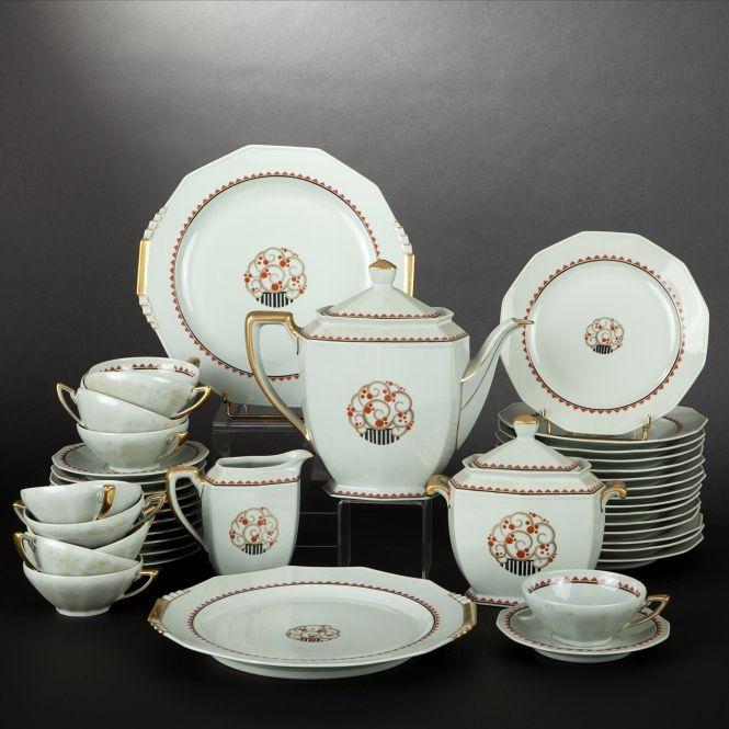 L bernardaud cie limoges porcelain tea service art deco period
