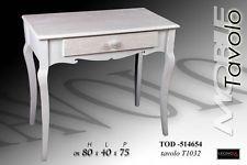 Tavolo scrivania rettangola legno bianco cassetto pomello rosa - arredo casa