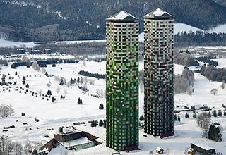 Tomamu Towers   (Alpha Resort)   Tomamu, Hokkaido, Japan  Located on the side of a forest covered mountain, the twin 40 story towers of the Alpha Resort were originally built in the 1980s and needed exterior re-cladding in 2010.