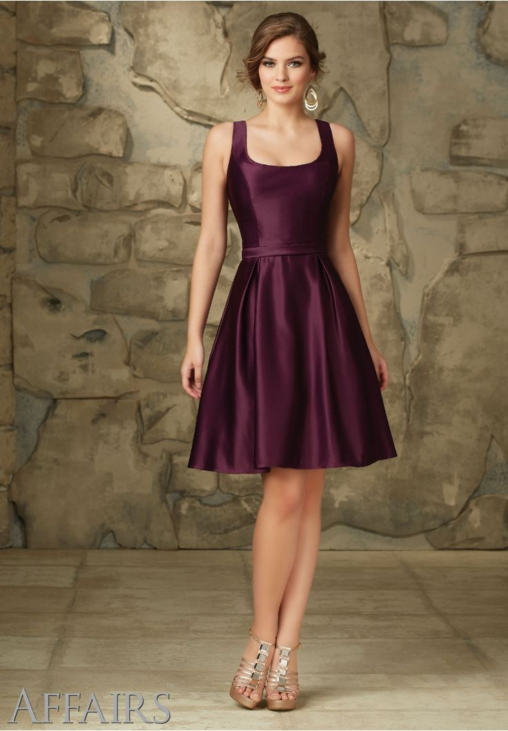 Bridesmaids Dresses by Affairs Satin Removable Back Bow. Zipper Back. Shown in Eggplant. Available in all Satin Colors.