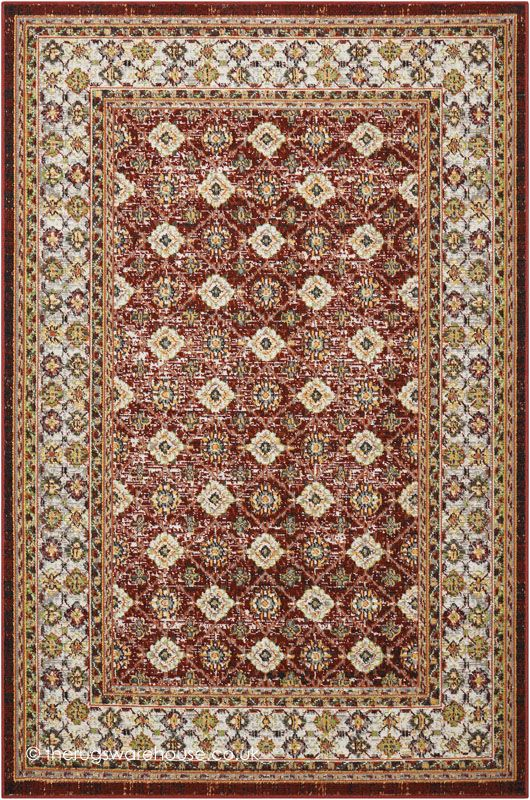 Aria Borders Red Rug A Soft Polypropylene Machine Woven Traditional Style Modern