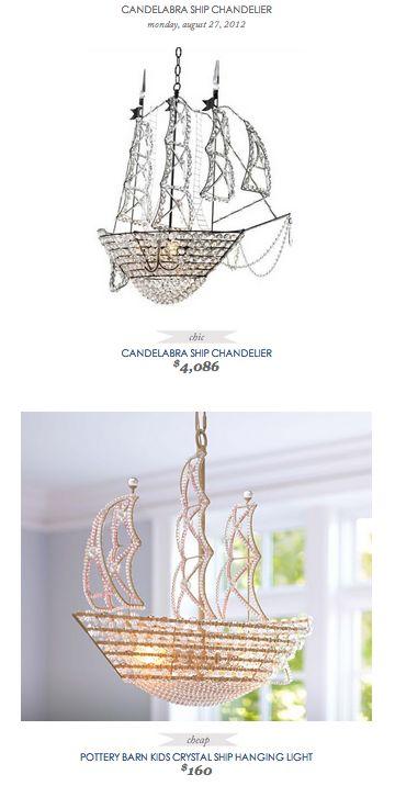 COPY CAT CHIC FIND: Candelabra Ship Chandelier VS Pottery Barn Kids Crystal Ship Hanging Light