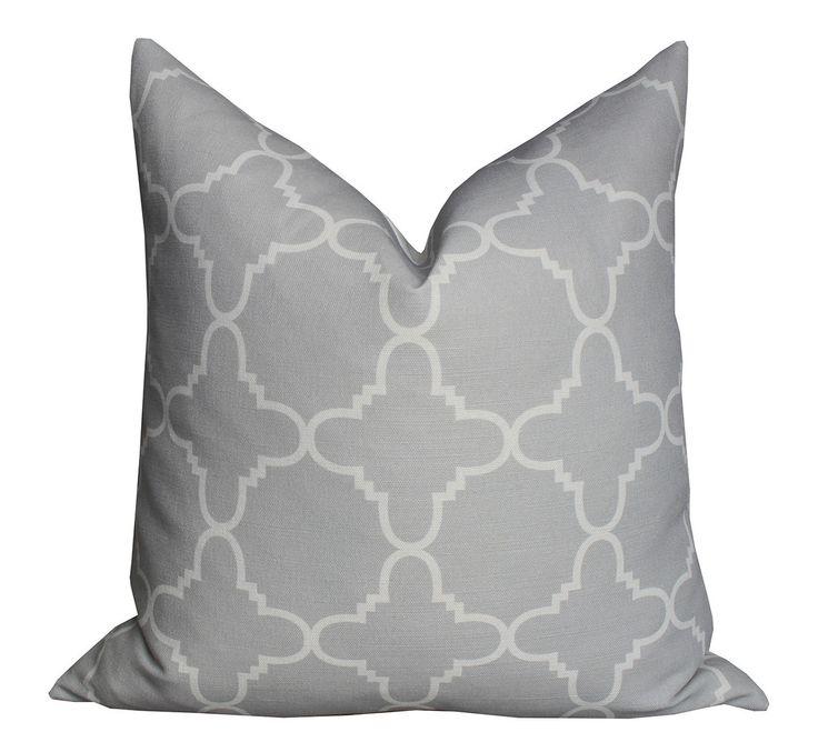 Fitzgerald Linen Pillow in Dove Grey