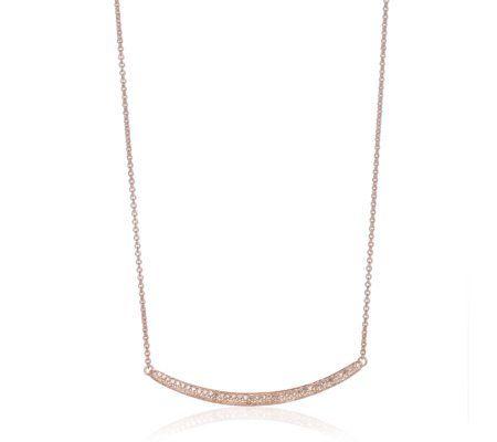 Champagne diamond skinny curve necklace