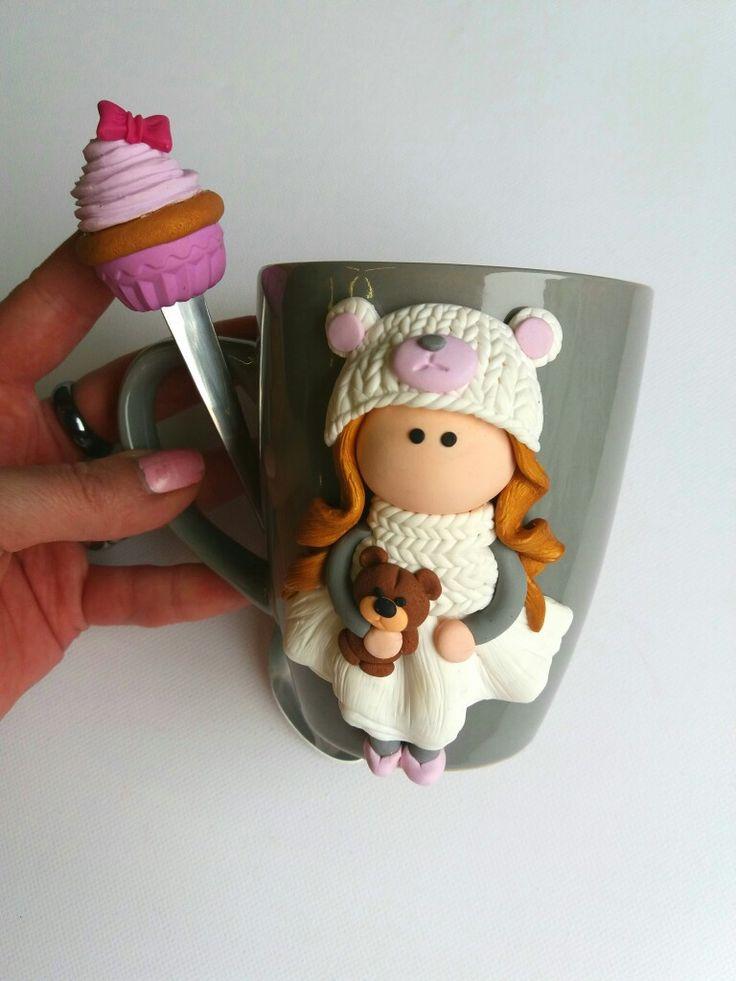 Doll cake polymer clay mug