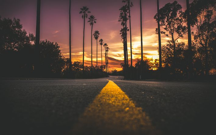 Download wallpapers USA, 4k, road, sunset, yellow lines, palms, America