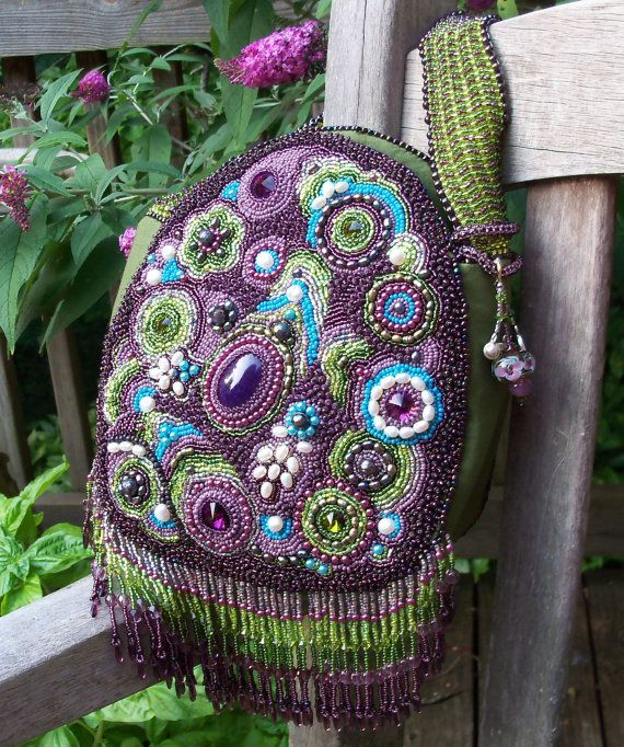 Paisley Garden Boho Beaded Bag by beadn4fun on Etsy