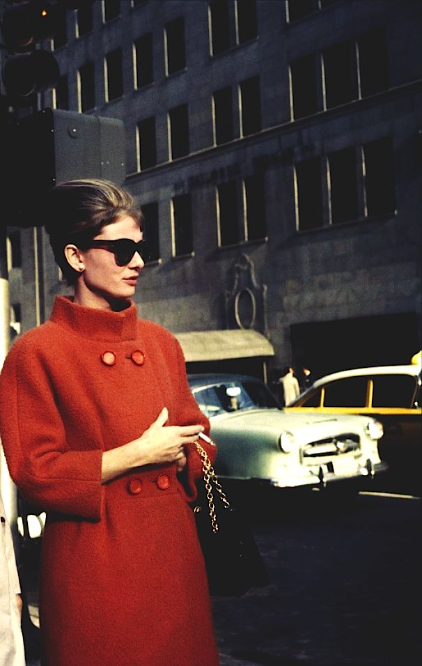 "Audrey Hepburn in ""Breakfast at Tiffany's."" Love the coat, hair, glasses, purse...need I go on???"