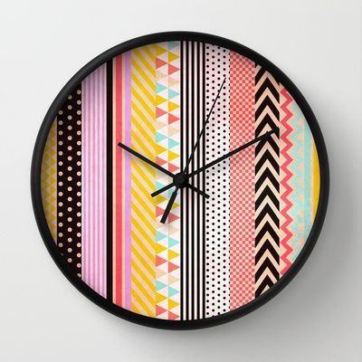 Washi Tape Wall Clock by Louise Machado...could be possible to do by removing the hands?