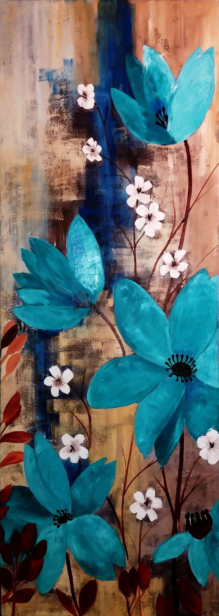 Viviana Del Río Flores Denim Blue técnica mixta (pasta, acrílico óleo) sobre tela de 50 x 140 cms (réplica libre)