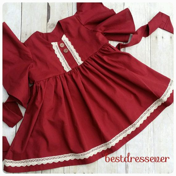 Little girls Christmas Dress - Toddler Christmas Dress - Maroon color - boho dress - vintage dress - lace - belle sleeves - Family photos