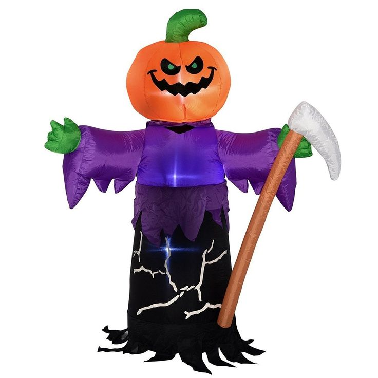 pumpkin grim reaper 150 cm pre lit led inflatable halloween decoration party in home furniture diy celebrations occasions party supplies