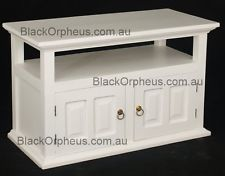 TV Cabinet, Small TV Stand, White, Solid Timber, W97xD47xH60, Entertainment Unit