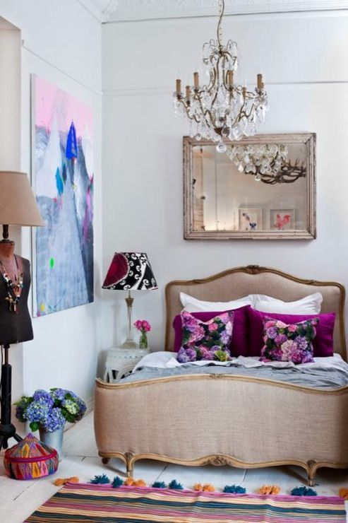 Lucy Fenton - bedrooms - french bed, upholstered french bed, french upholstered bed, suzani lamp shade,  eclectic bedroom - love the colours