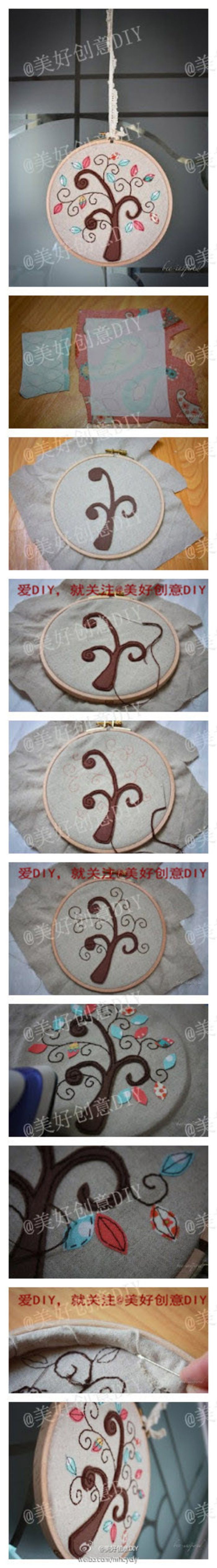 美丽的大树刺绣,刺绣神马的最有爱了~——更多有趣内容,请关注@美好创意DIY