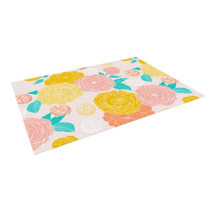 Kess InHouse Anneline Sophia Peonies Peach Yellow Pink Outdoor Patio Rug