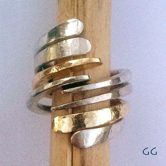 RING Sterling Silver and Gold Modern Hammered - Jewelry
