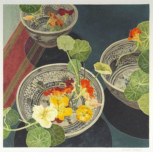 """""""Nasturtiums"""" by © Cressida Campbell. Licensed by Viscopy, Australia. Colour Woodblock Print (2002)"""