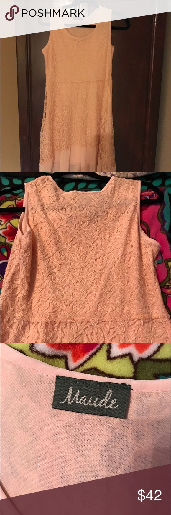 Beautiful Maude Peach Lace dress Beautiful peach lace dress with elastic waist. It's longer in the back than the front with a sheer overlay. Maude Dresses Midi