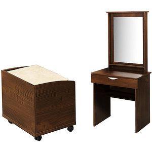 "Vanity, Walmart, $259 online price, LWH: 29.75""x18.88""x66.19"", Walmart No. 001701040 (table) 001701047 (bench). Bench has wheels"