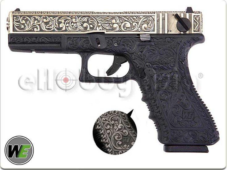 WE G18C Classic Floral Pattern GBB Pistol (Ivory Version)