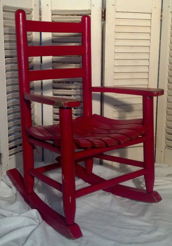 12l20a Vintage Child S Red Rocking Chair By