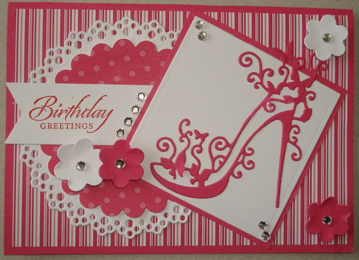 Hand made birthday card using tattered lace shoe die and doily die
