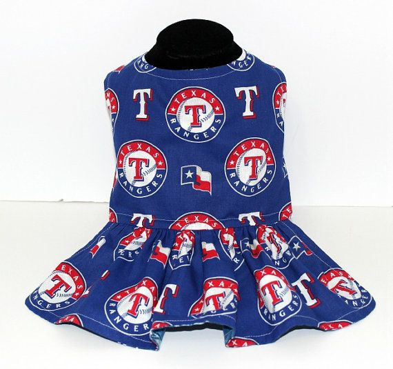 Texas Rangers and Dallas Cowboys Reversible Dog / Pet Dress, Baseball and Football reversible dog pet dress