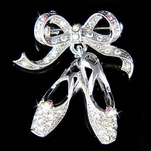 w Swarovski Crystal BALLET DANCER Dance BALLERINA Slippers Shoes Pin Brooch Xmas #Unbranded