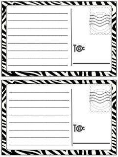 Postcard Paper for writing center. This could be a great activity: write a postcard to a character from another character.