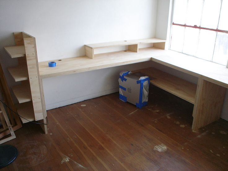 """Custom desk from 1"""" plywood by skilled carpenter Pat Bob McGee"""