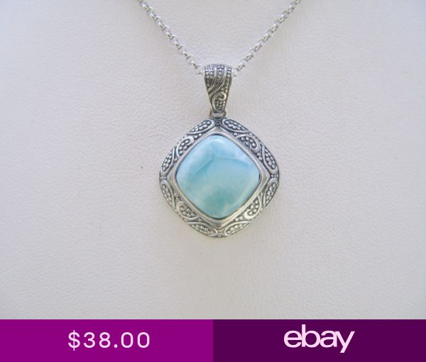 Larimar Genuine Top Quality 5.2ct 12X12mm Oxidized 925 Sterling Silver Pendant