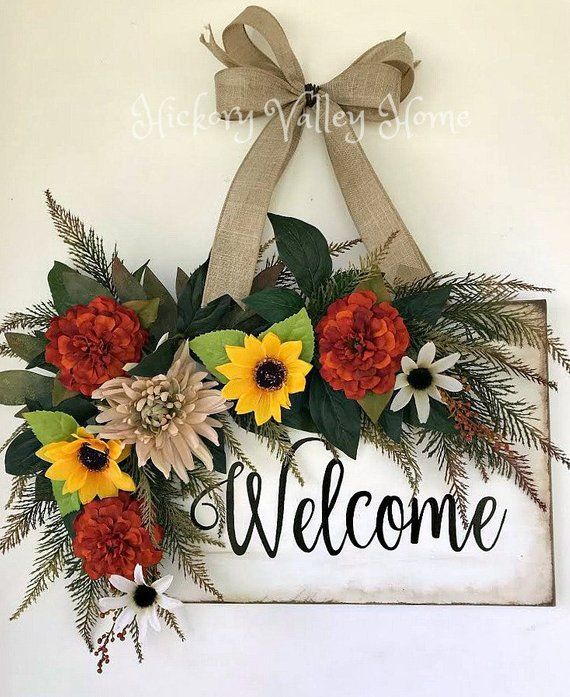 Rustic Door Decor Farmhouse Style Welcome Sign Door Hanger Sunflowers Fall Floral Wreath Front Door Wreath Rustic Wreath Fall Decor Rustic Door Decor Rustic Wreath Floral Signs