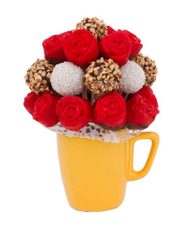Sweet snack from red roses and popcakes