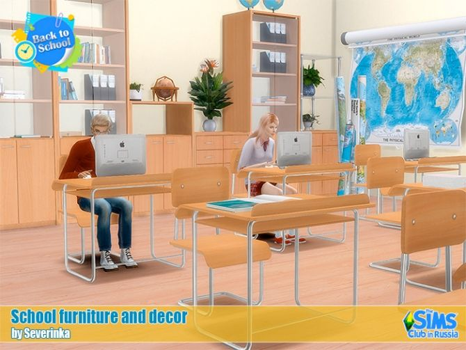 School furniture and decor set 02 at Sims by Severinka • Sims 4 Updates