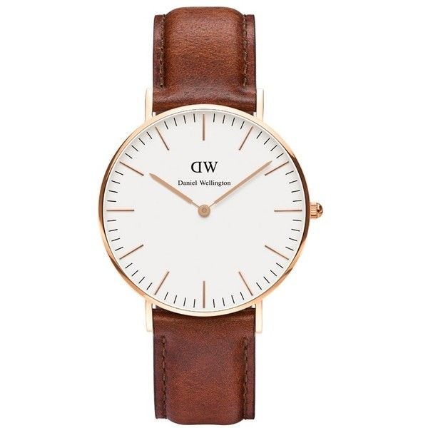 Classic St Mawes Lady found on Polyvore featuring jewelry, watches, daniel wellington watch, timepiece, leather band watches, dial watches and slim watches