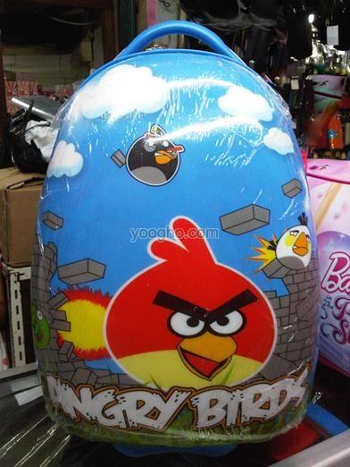 Tas Trolley Telur, Koper Roda 2 Sekolah Anak (Angrybirds) Import