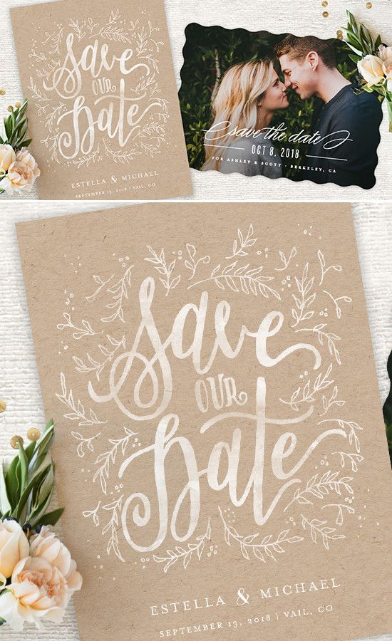 You're Engaged! Share the news with a unique hand drawn calligraphy inspired Save the Date card designed by the artists at Minted.com