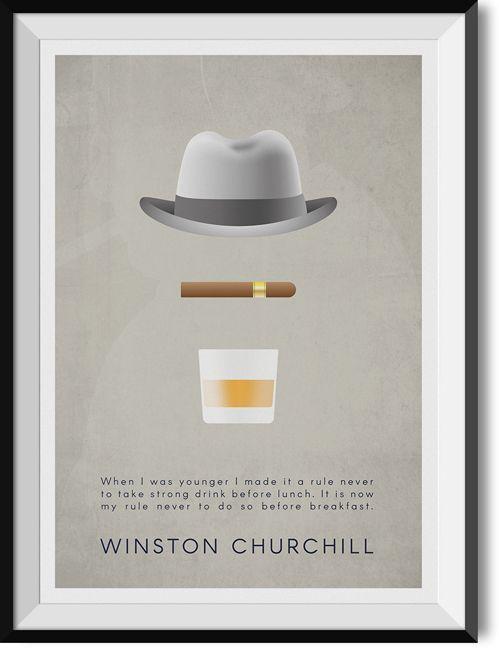 "Churchill ""Breakfast"" quote poster"