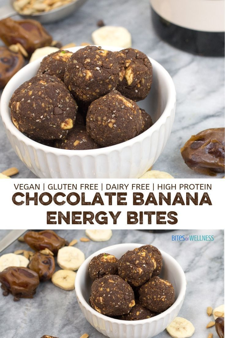 Double Chocolate Banana Energy Bites Are A Healthy Nut Free No Bake Snack Full Of Fiber And Protei Cacao Recipes Protein Energy Bites Chocolate Protein Balls