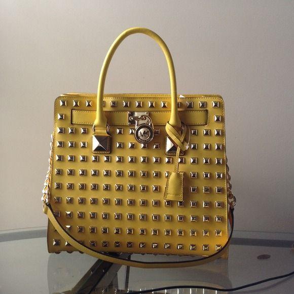Michael Kors Citrus Hamilton Studded Handbag Brand new! Citrus-yellow color perfect for Spring/Summer. Beautiful detail for the modern, stylish girl. MICHAEL Michael Kors Bags