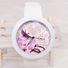 6 конструкции оптовая продажа животных мультфильм цветок силиконовой лентой часы модель украшена аналоговые часы дети женские часы с-12(China (Mainland))