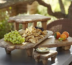 Serving Dishes, Serving Platters & Trays | Pottery Barn  I think this could be made using wooden cutting boards and wooden pegs for legs