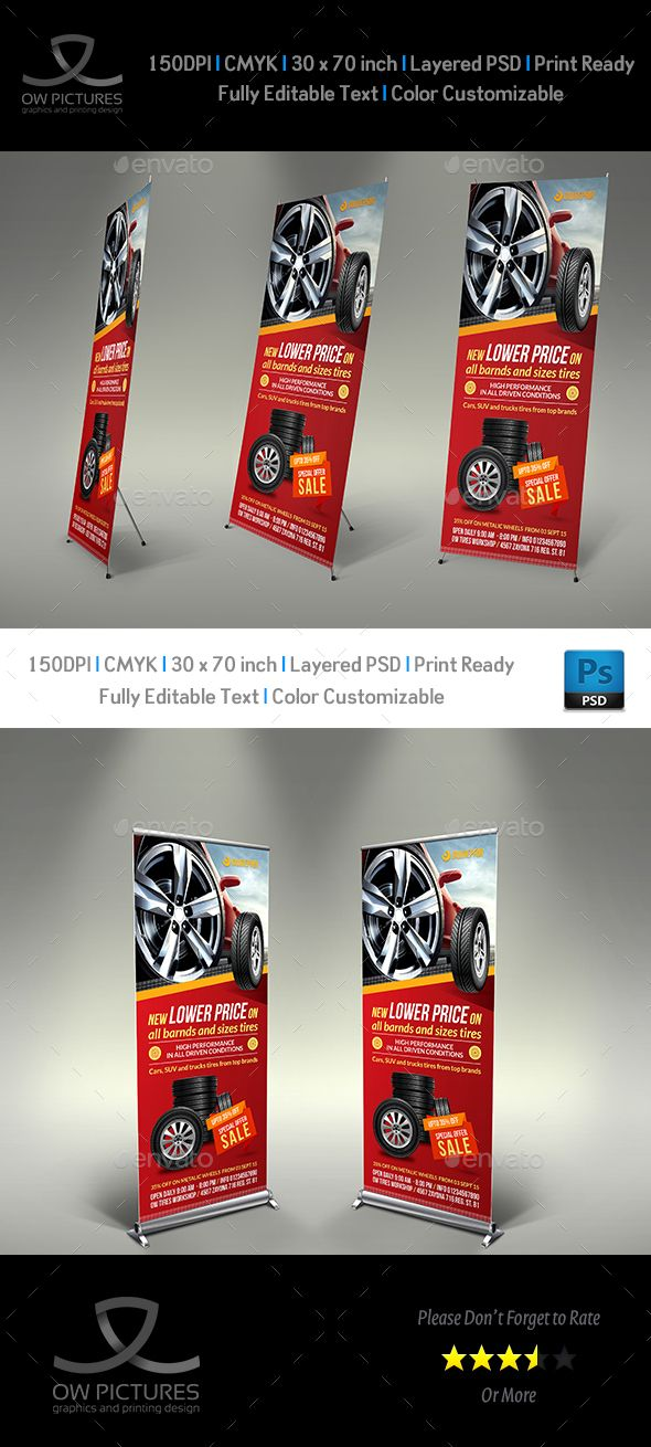 Tires Shop Signage Roll-Up Banner Template by OWPictures Signage Roll-Up Banner ...